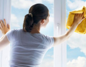 woman cleaning house and washing windows